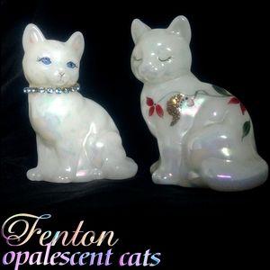2 fenton opalescent glass cats